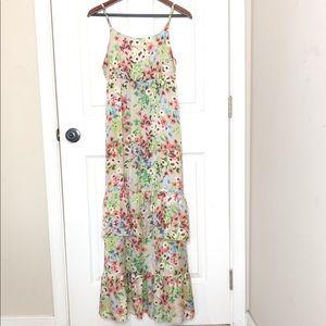 Old Navy Floral Maxi Ruffle Slip Dress Size Medium